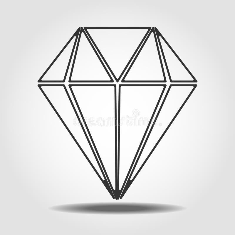 Diamond Icon Vector Symbole plat simple Ligne parfaite illustration de pictogramme sur le fond blanc EPS10 illustration stock