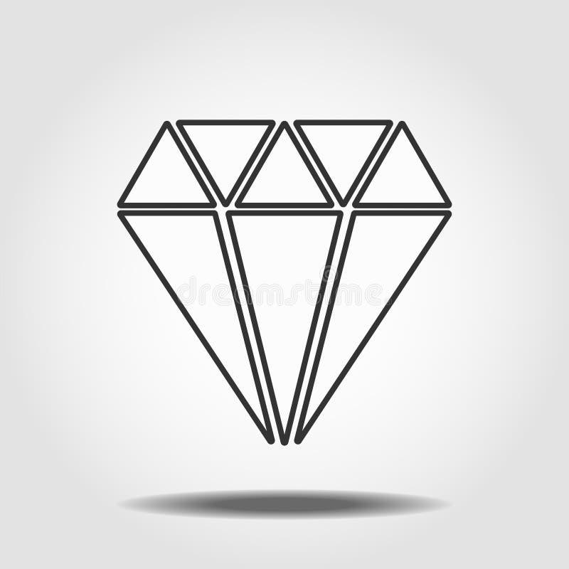 Diamond Icon Vector Symbole plat simple Ligne parfaite illustration de pictogramme sur le fond blanc EPS10 illustration de vecteur
