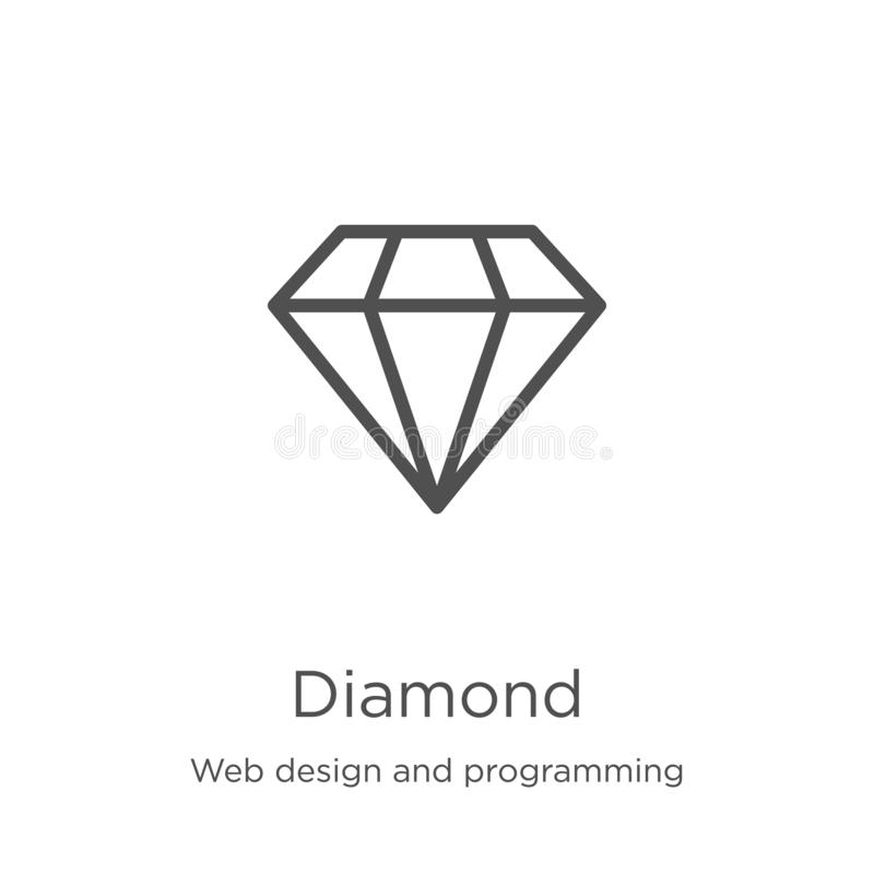 Diamond icon vector from web design and programming collection. Thin line diamond outline icon vector illustration. Outline, thin. Diamond icon. Element of web stock illustration