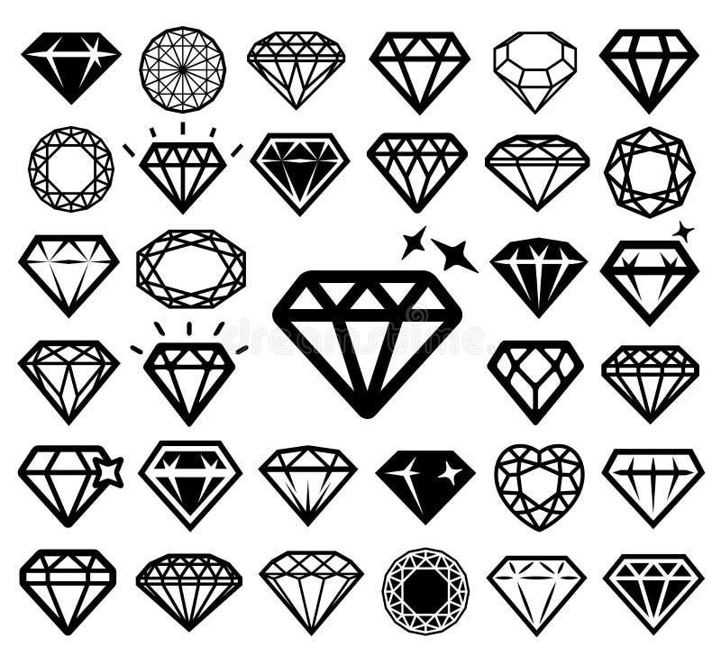 Diamond icons set. royalty free illustration