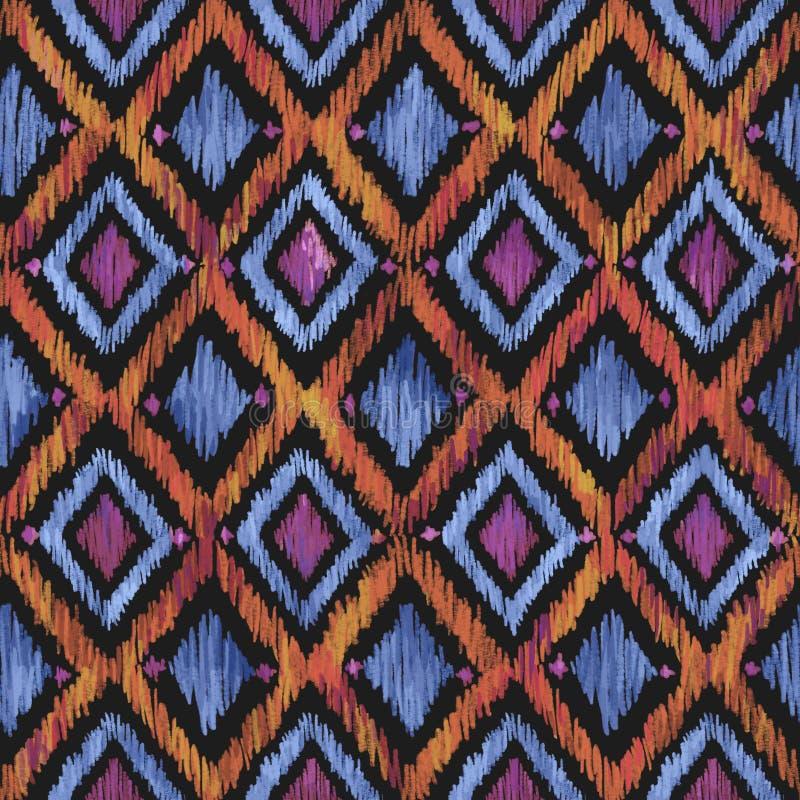 Diamond Ikat Ogee Background Pattern sans couture illustration libre de droits