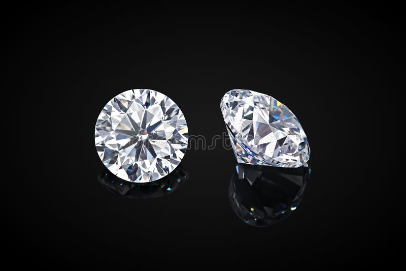 Diamond isolated on black background. Luxury colorless transparent sparkling gemstone diamond round shape cut royalty free stock photography
