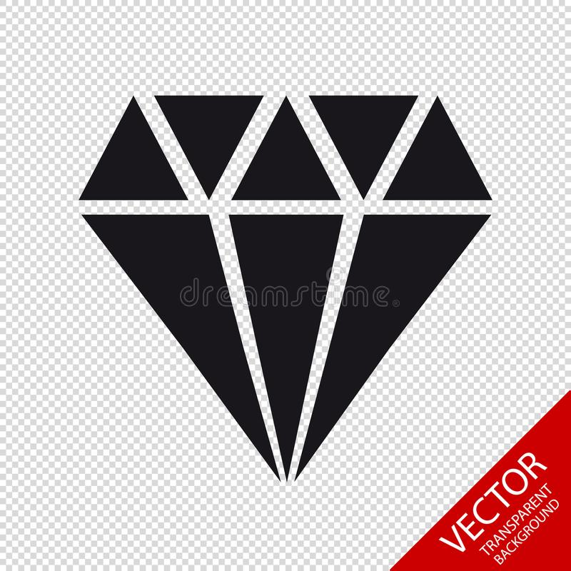 Diamond Jewel Icon - Vector Illustration - Isolated On Transparent Background royalty free illustration