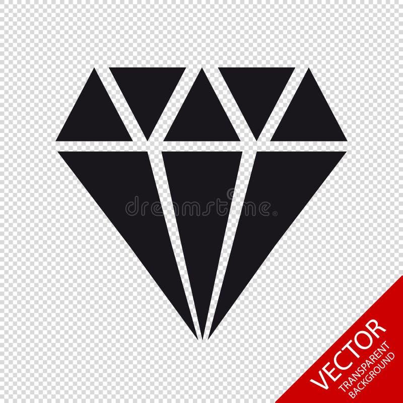Diamond Jewel Icon - VectordieIllustratie - op Transparante Achtergrond wordt geïsoleerd royalty-vrije illustratie