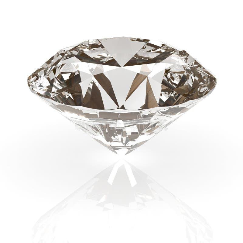 Diamond jewel isolated. Beautiful shape emerald image with reflective surface. Render brilliant jewelry stock image. royalty free stock photography