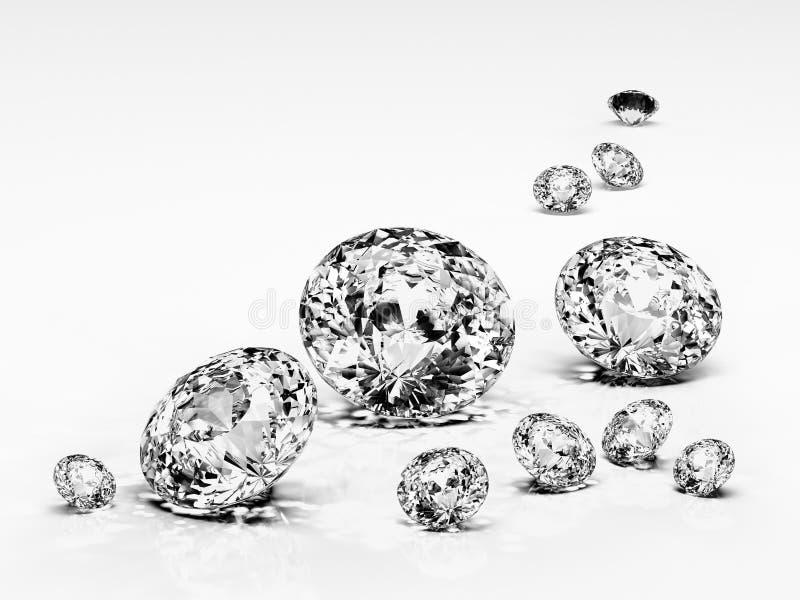 Diamond jewel isolated. Beautiful shape emerald image with reflective surface. Render brilliant jewelry stock image. royalty free stock photos