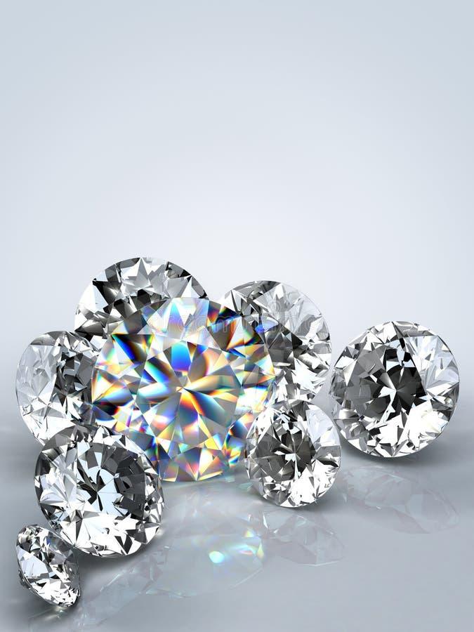 Diamond jewel isolated. Beautiful shape emerald image with reflective surface. Render brilliant jewelry stock image. stock image