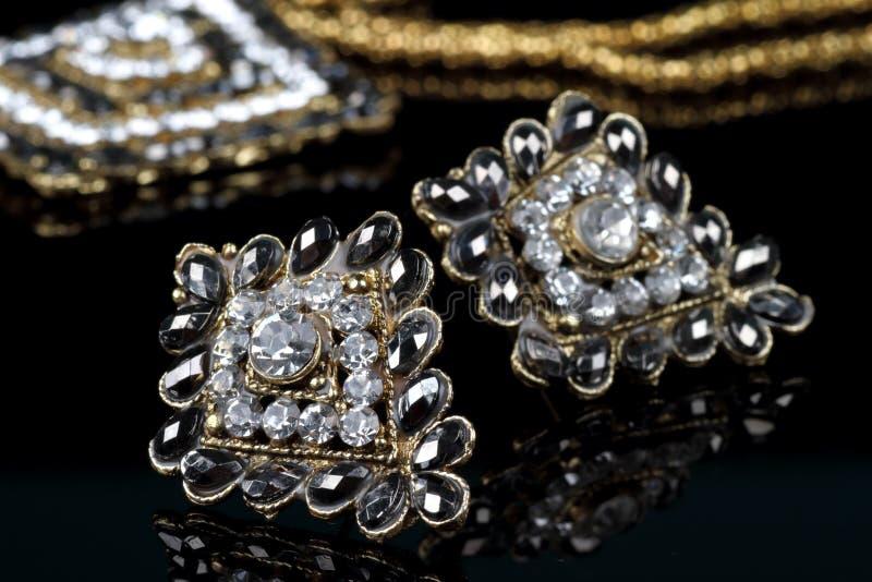 Diamond Jewelry Earrings Pair noir photographie stock libre de droits