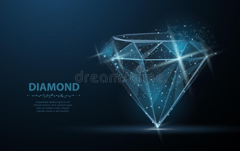 Diamond. Jewelry, gem, luxury and rich symbol, illustration or background. Diamond with crumbled edge on blue with dots and stars. Jewelry, gem, luxury and rich vector illustration