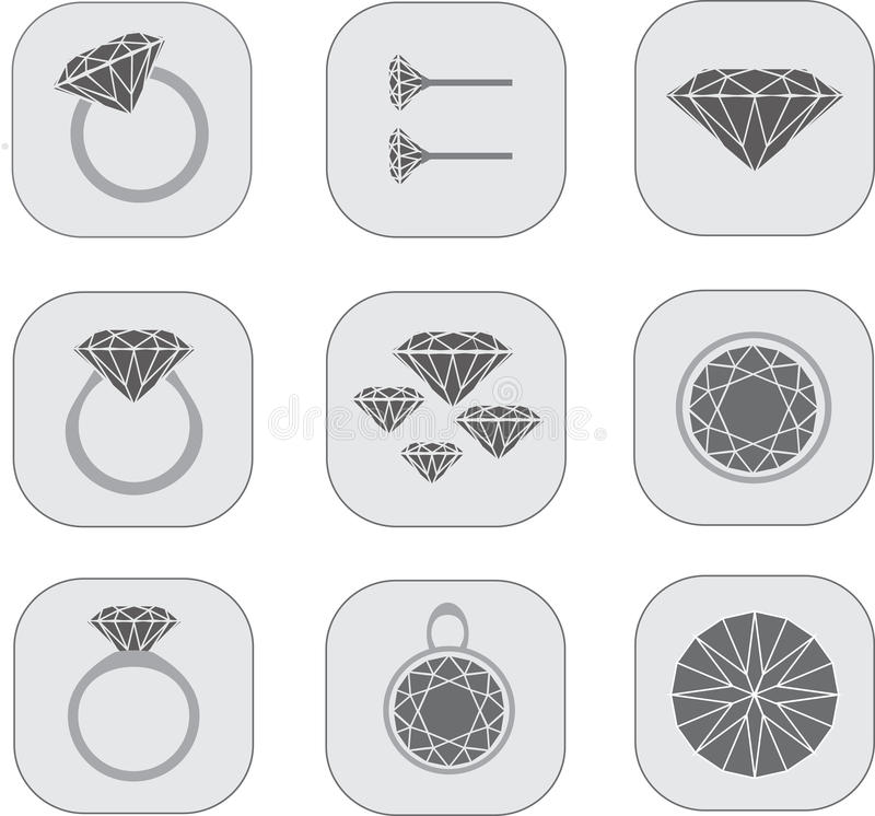 Diamond jewelry icons royalty free stock photos