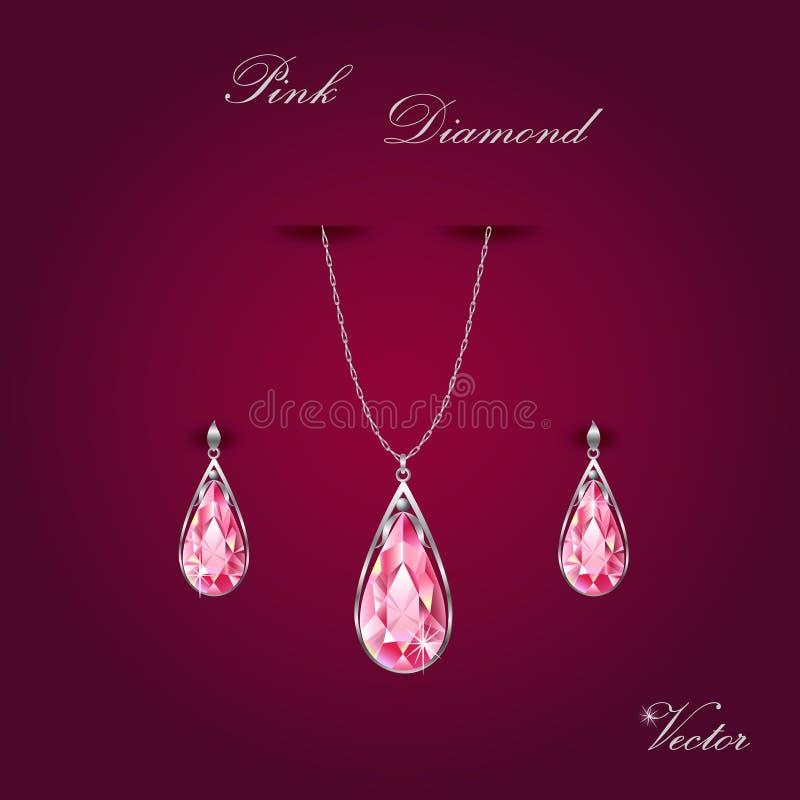 Diamond Jewelry Set rose photographie stock libre de droits