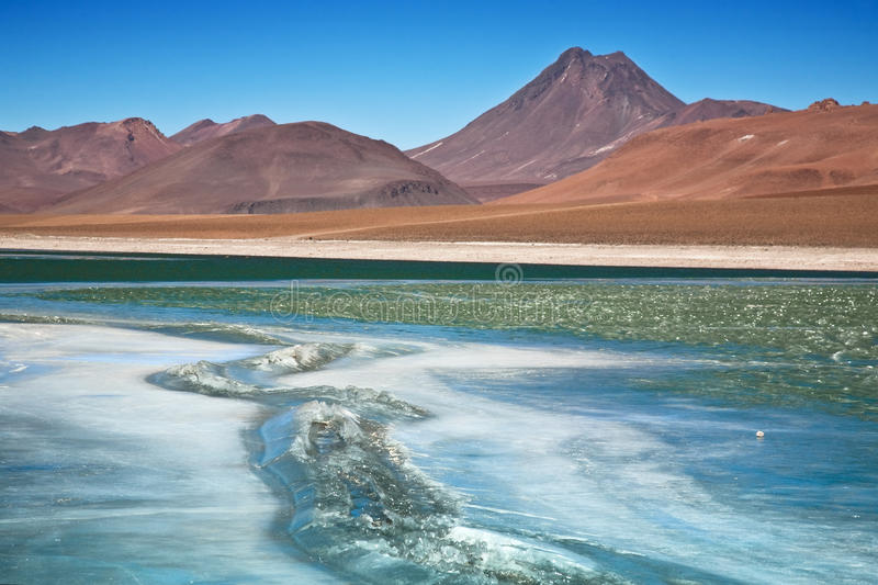 Diamond lagoon in Atacama desert royalty free stock photography