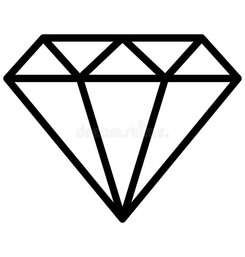 Diamond Line Isolated Vetora Icon isso pode facilmente ser alterado ou editado ilustração stock