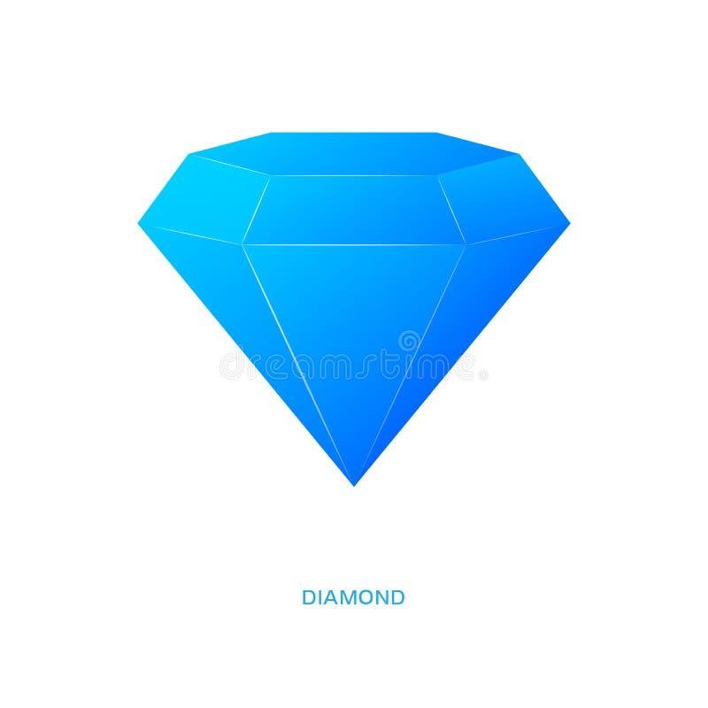 Diamond logo. Blue crystal stone stock illustration