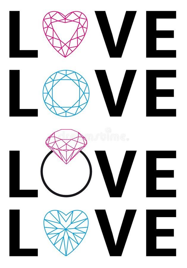 Diamond love, vector stock illustration
