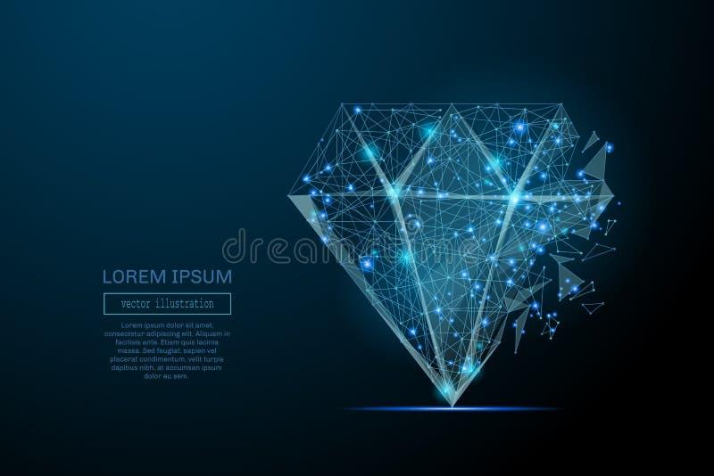 Diamond low poly blue vector illustration