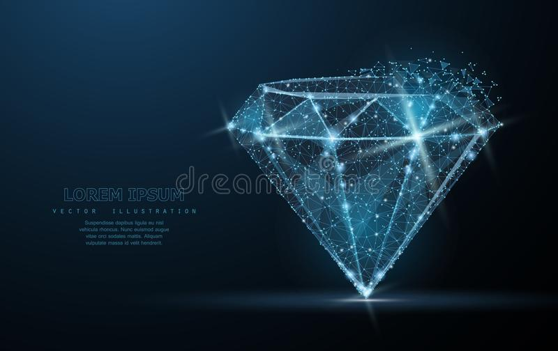 Diamond. Low poly wireframe mesh. Jewelry, gem, luxury and rich symbol, illustration or background. Diamond. Low poly wireframe mesh with crumbled edge and looks royalty free illustration