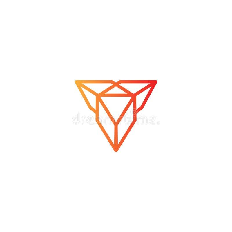 diamond monoline logo vector illustration icon element stock illustration