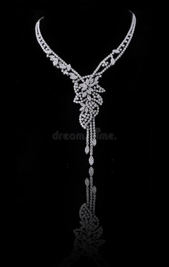Diamond necklace. On black background royalty free stock images