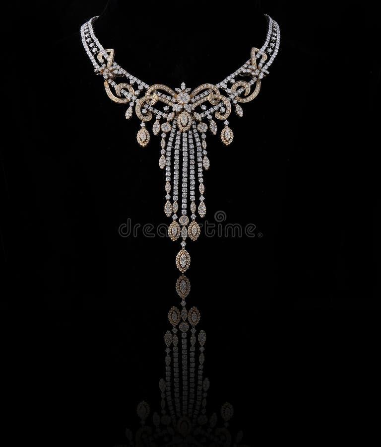 Diamond necklace. On black background royalty free stock image