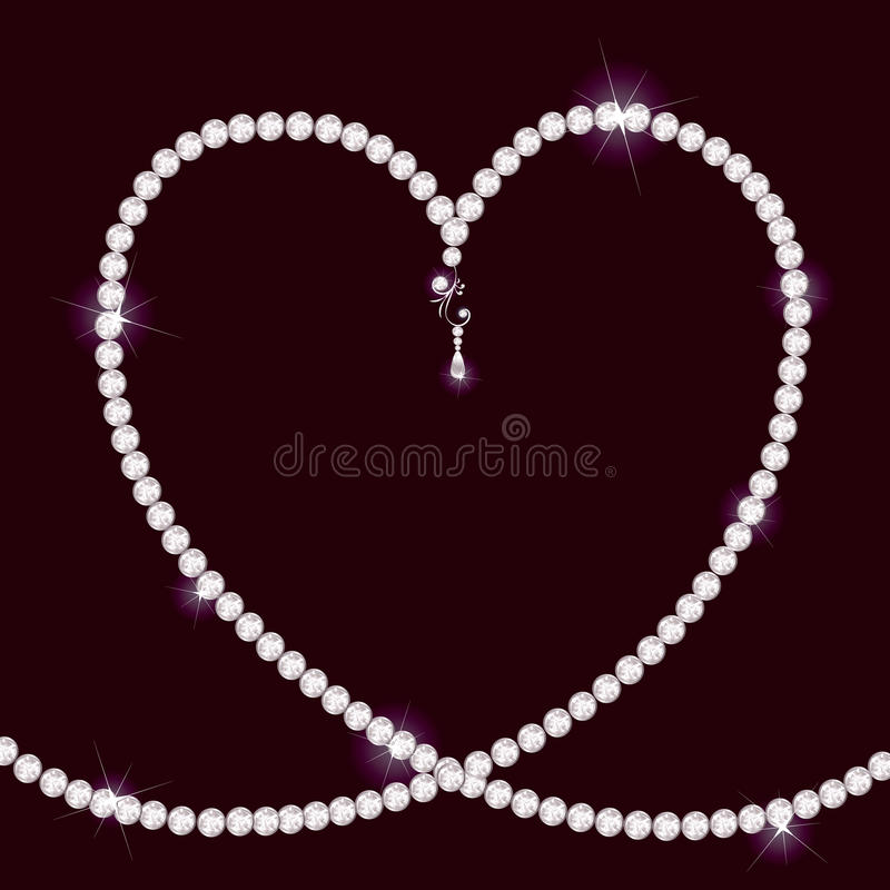 Diamond necklace lying in form of heart vector illustration