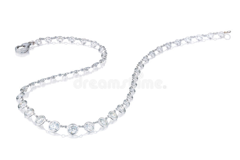 Download Diamond  Necklace On A White Background Stock Image - Image of shiny, precious: 26351909
