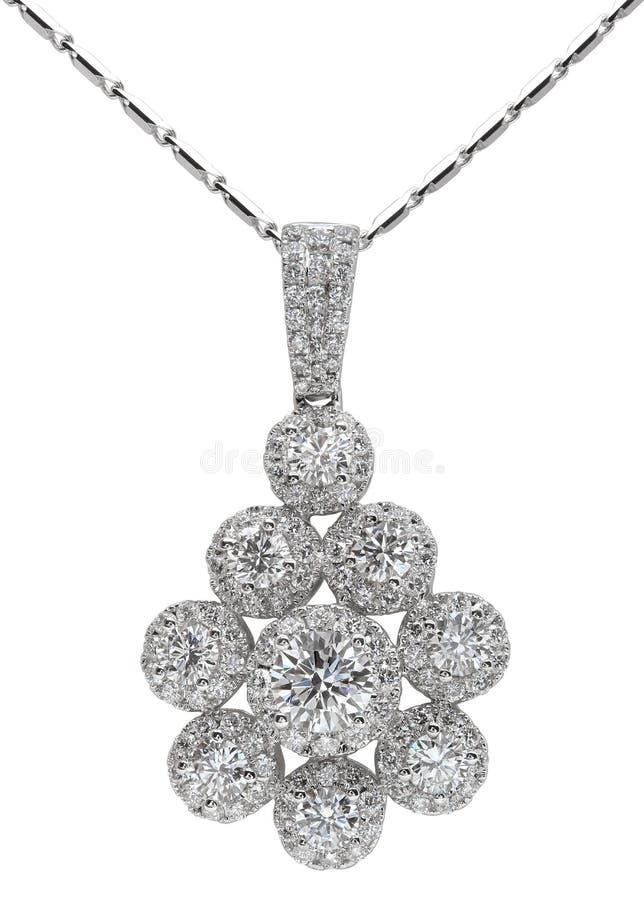Diamond Necklace on White royalty free stock photo