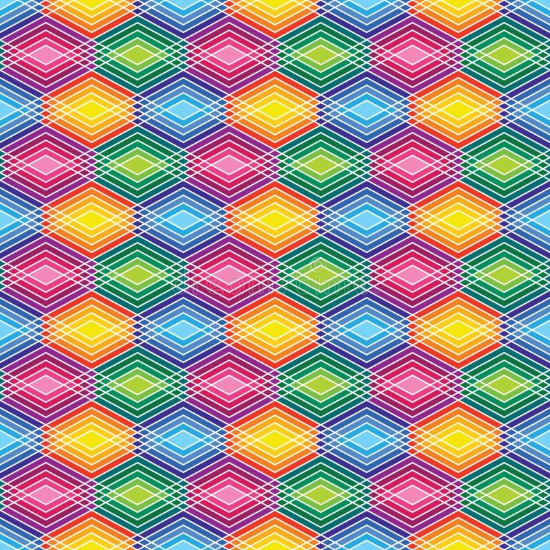 Diamond Outline Pattern in Heldere Kleuren vector illustratie
