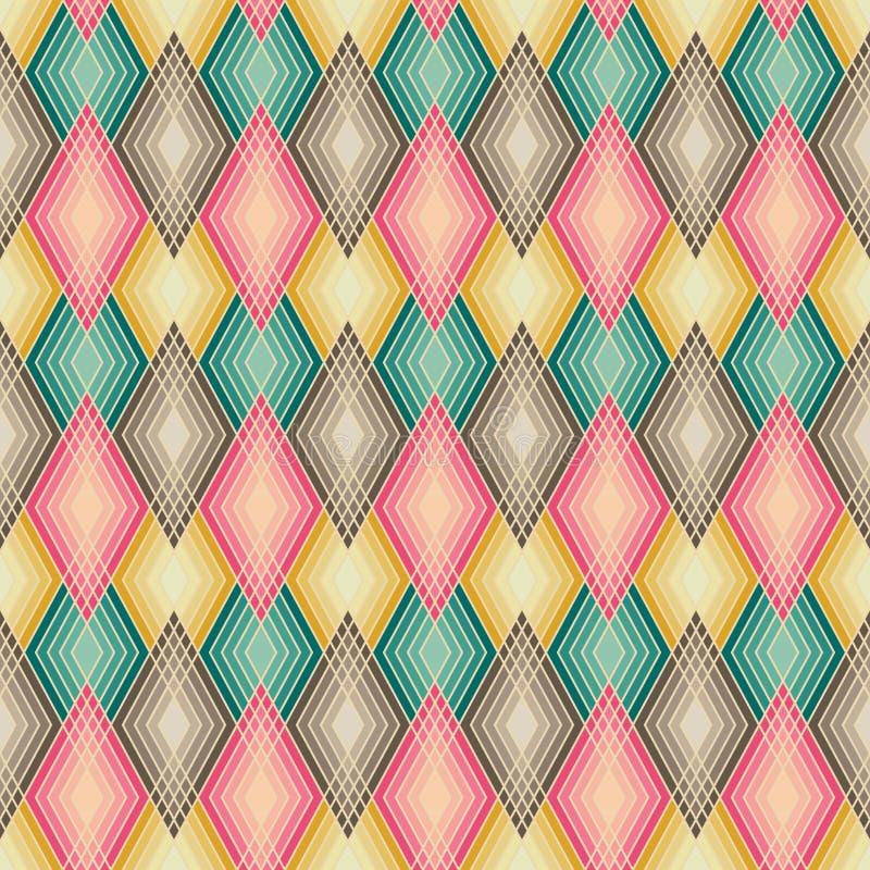 Diamond Outline Pattern i dämpade färger stock illustrationer