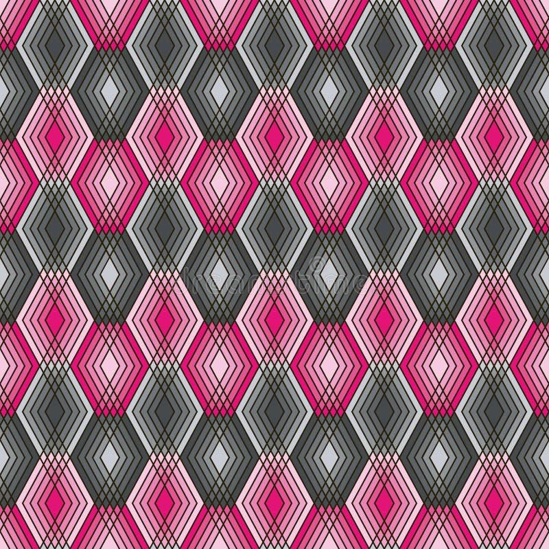 Diamond Outline Pattern i rosa färger och grå färger royaltyfri illustrationer
