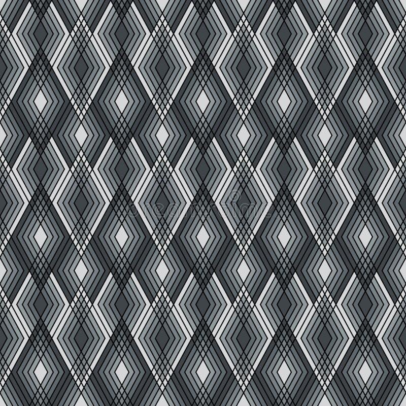 Diamond Outline Pattern i skuggor av grå färger royaltyfri illustrationer