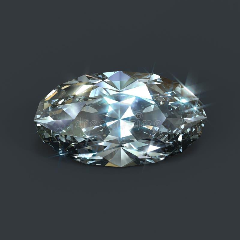 Diamond oval brilliant cut isolated royalty free illustration