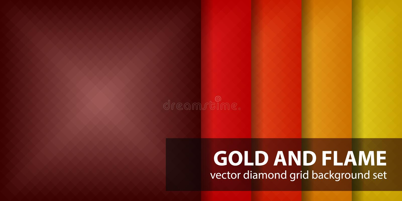 Diamond pattern set Gold and Flame vector illustration