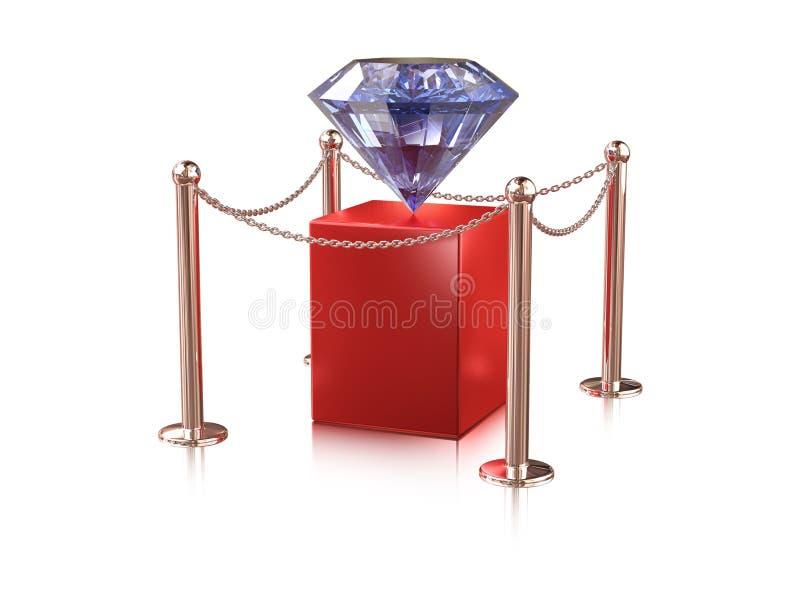 Diamond on pedestal. Big diamond on red pedestal enclosure vector illustration