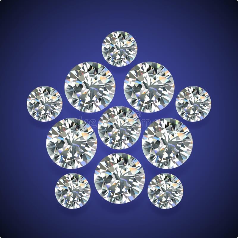 Diamond pentagon brooch royalty free illustration