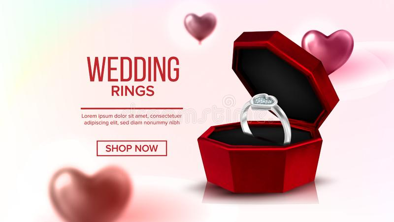 Diamond Platinum Ring In Box Landing Page Vector stock illustration