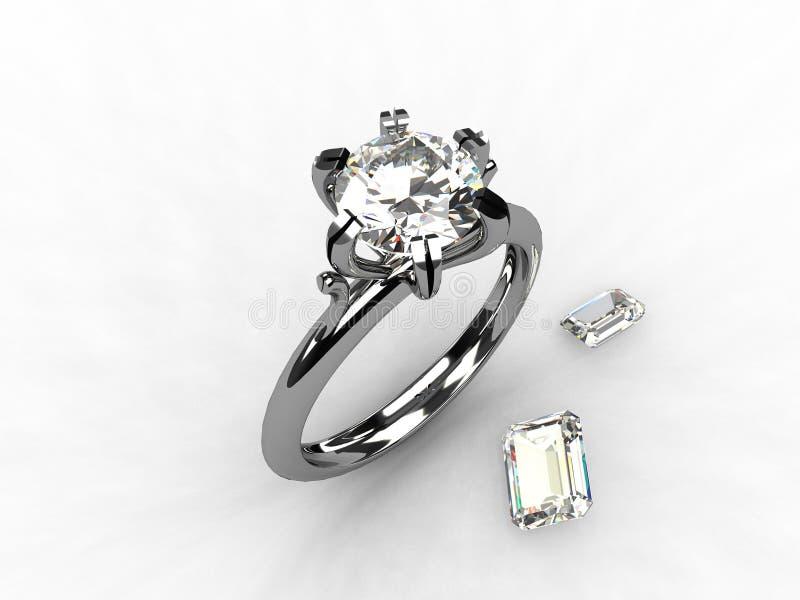 Diamond Platinum Solitaire Engagement Ring stock images