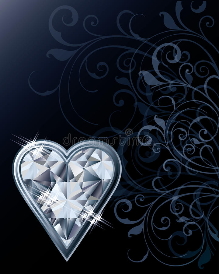 Diamond poker hearts card stock illustration