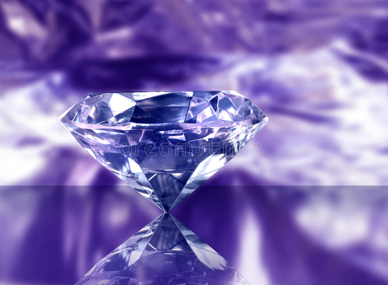 Diamond on purple royalty free stock photography