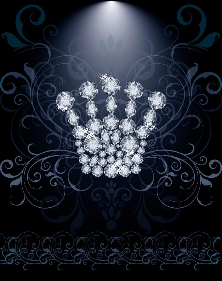 Diamond Queen-Krone Promi-Karte lizenzfreie abbildung