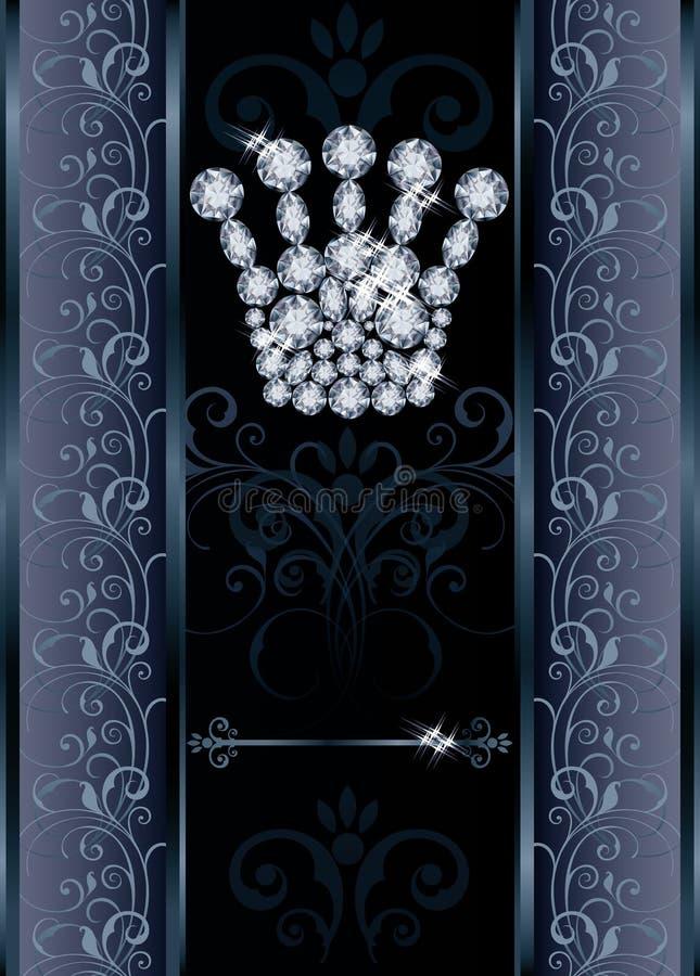 Diamond Queen-kroonvip kaart royalty-vrije illustratie