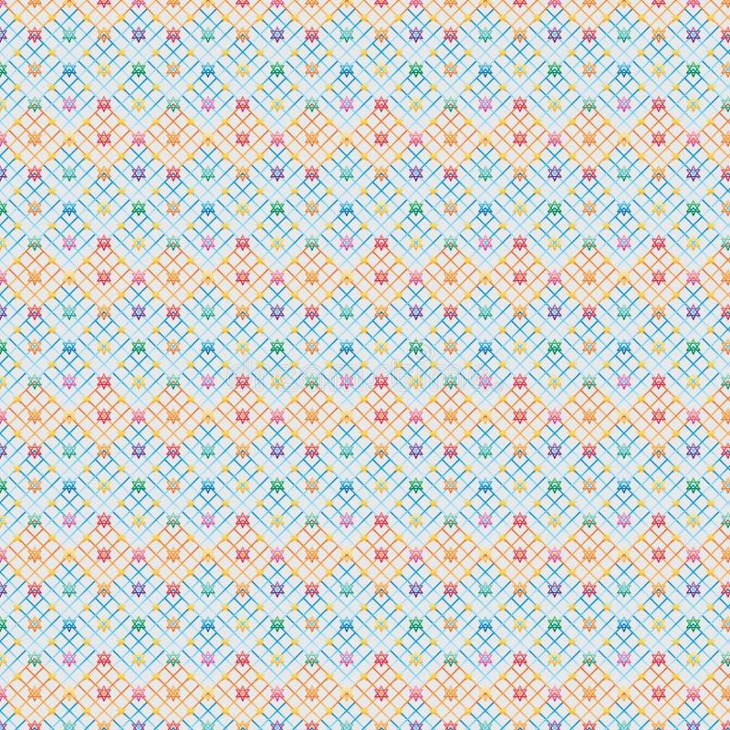 Diamond rack hang colorful Hannukah star seamless pattern. This illustration is drawing diamond shape rack hanging Hannukah star and five star in seamless patter vector illustration