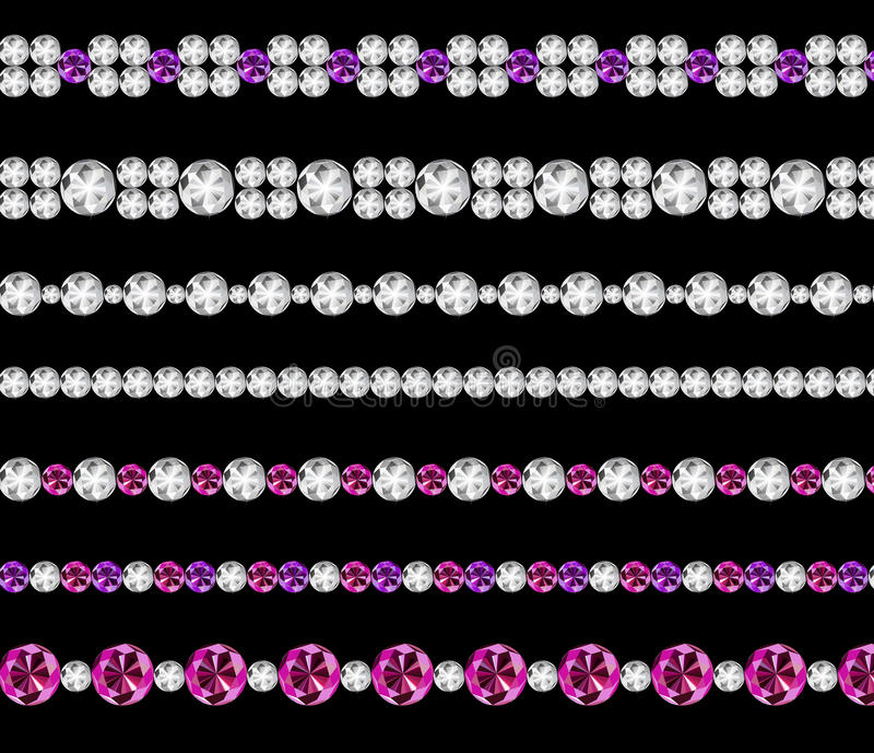 Diamond Realistic Borders Set Vector-Illustration stock abbildung