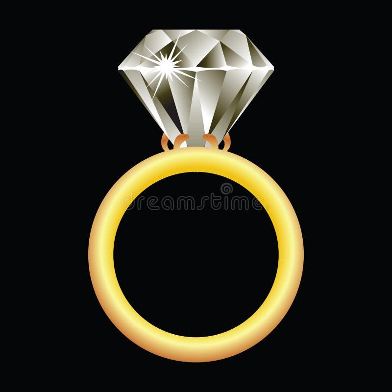 Diamond ring against black royalty free illustration