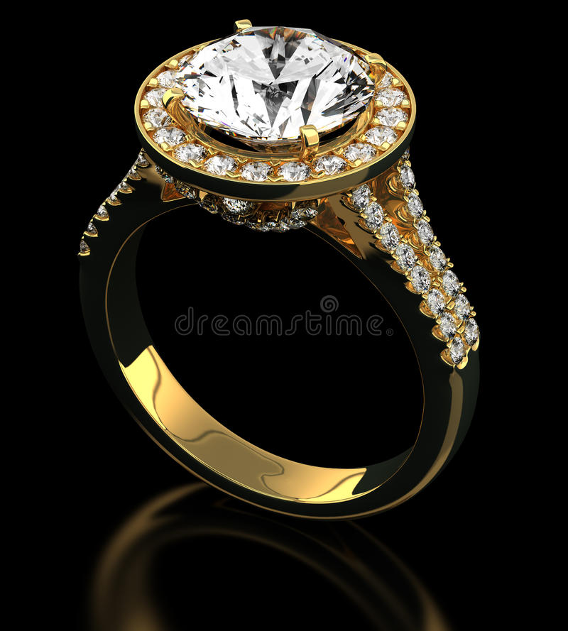Diamond ring on black royalty free stock photo