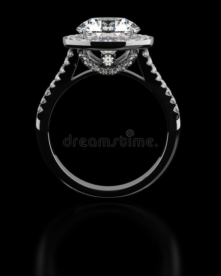 Diamond ring on black stock photos