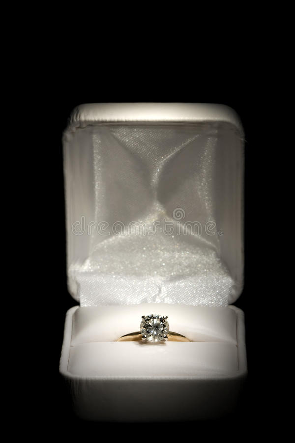 Diamond Ring in Box stock image