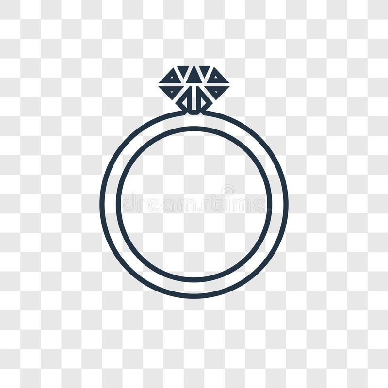 Diamond ring concept vector linear icon isolated on transparent vector illustration