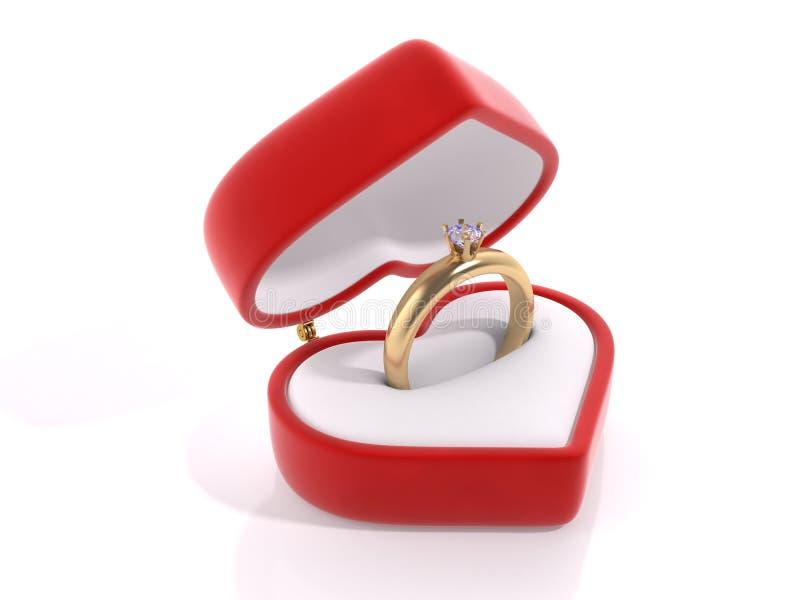 Diamond ring in the heart box stock image