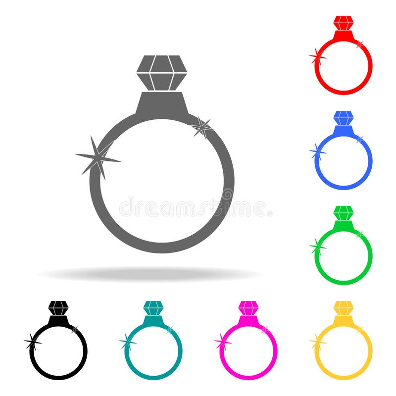 Diamond ring icon. Elements of romance in multi colored icons. Premium quality graphic design icon. Simple icon for websites, web. Design, mobile app, info stock illustration